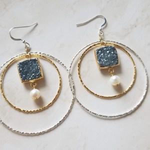 double hoop statement earrings