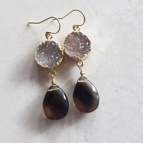 smoky quartz druzy earrings
