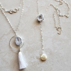 white agate necklaces