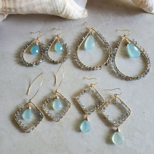 blue and gray earrings