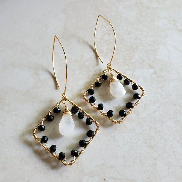 black and white gemstone earrings