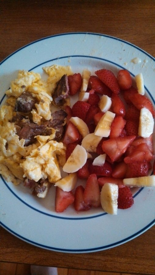 Day 1: Steak and eggs with strawnana mix.