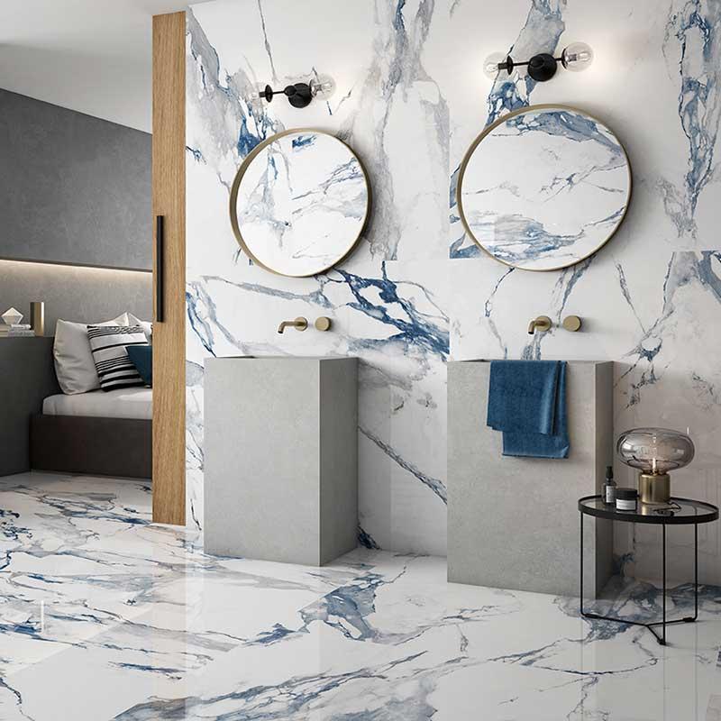 arezzo blue marble porcelain tiles