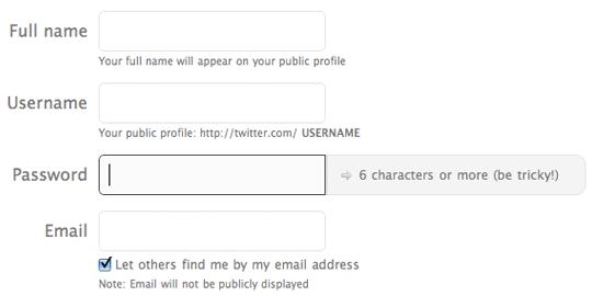 La pagina di registrazione di Twitter mostra le richieste di formato accanto al campo password.