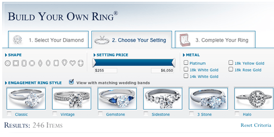 Blue Nile Build Your Own Ring Interface