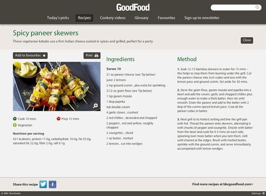 L'interfaccia dell'applicazione BBC Good Food