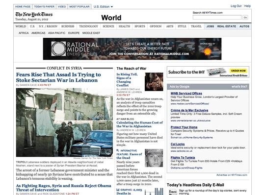 L'interfaccia del sito web del NY Times