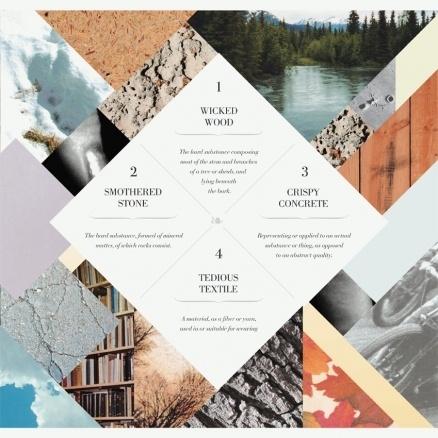 Immagine di un layout di un magazine che usa rombi come forme.