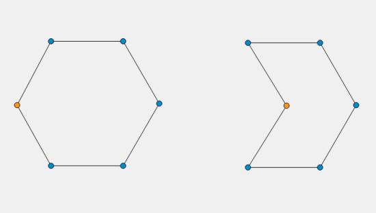 Immagine che mostra il risultato del cambiamento di coordinata di un punto sulla forma creata.