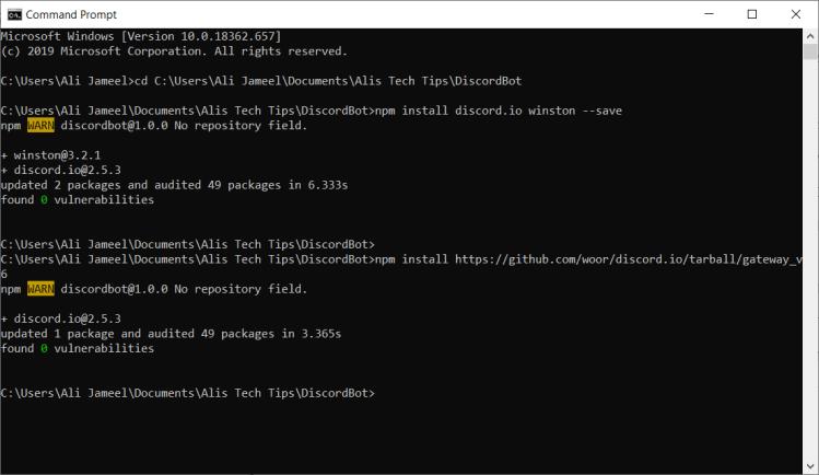 Command Prompt Node.js Install Requirements