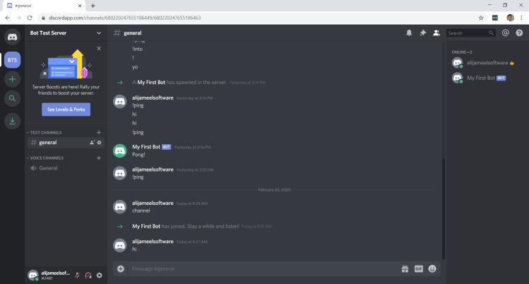 Discord Bot In Channel Online