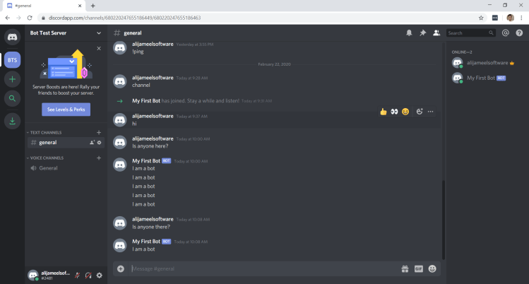 Discord Bot In Channel Working