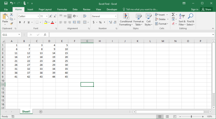 Excel sheet to use Find on