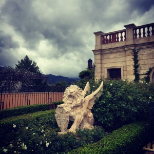 A lion greets guests at the entrance of Del Dotto, the Jersey Shore of Napa Valley.