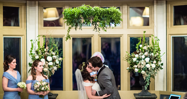 Creative Muse decorated the Trapp Family Lodge ceremony space with whimsical hanging chandeliers