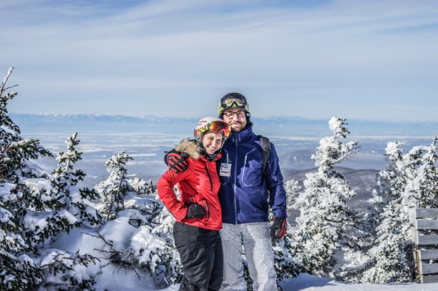 Jenna Bostock (editor) and Brian Aitken (publisher) near the summit of Mt. Ellen at Sugarbush Resort, VT.
