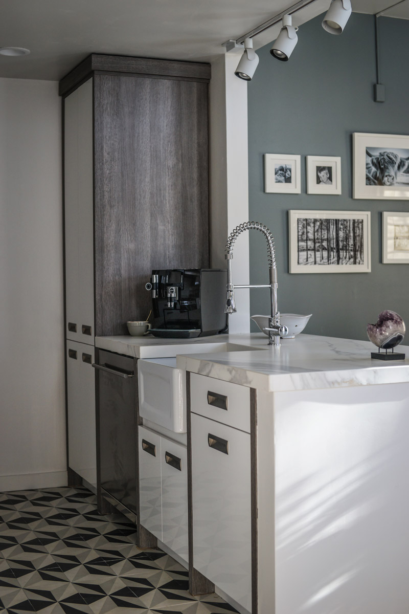 Bellmont Cabinets DXV Sonoma Faucet DXV Hillside Sink Farmhouse Pottery Oceanside Glasstile Neolith Countertop Jura Espresso Machine