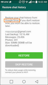 whatsApp chat restore