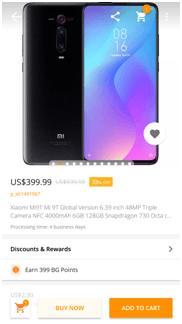 Price of Xiaomi MI 9T PRO on banggood