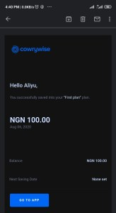 Cowrywise email notification