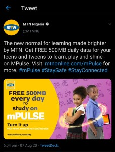 Mtn mpulse 500MB data conversation on twitter