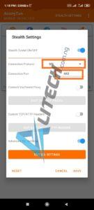 Anonytun VPN settings for Airtel 1GB data plan