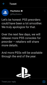 Playstation 5 ps5 preorder announcement on Twitter