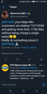 Mtn 12GB data reported on Twitter