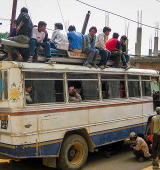 A broken down bus in Kathmandu, Nepal