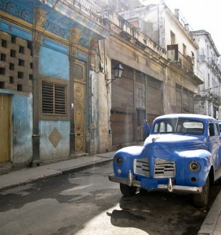 An old and restored car in Havana, Cuba