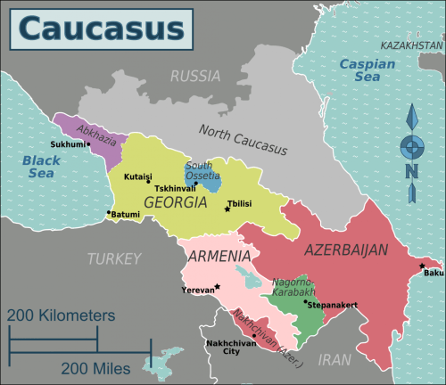 Map of Georgia and Caucasus Region