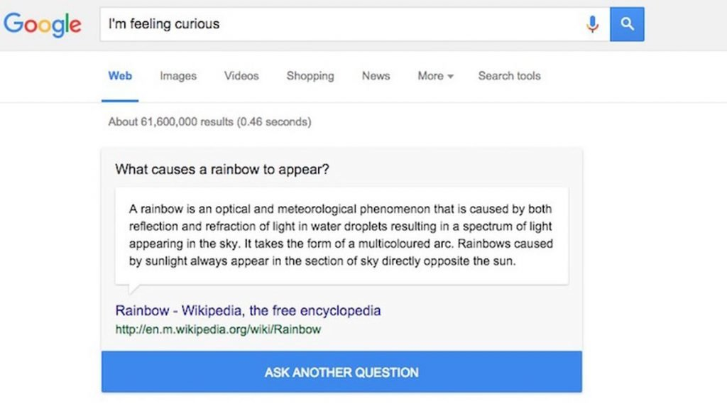 google i'm feeling curious