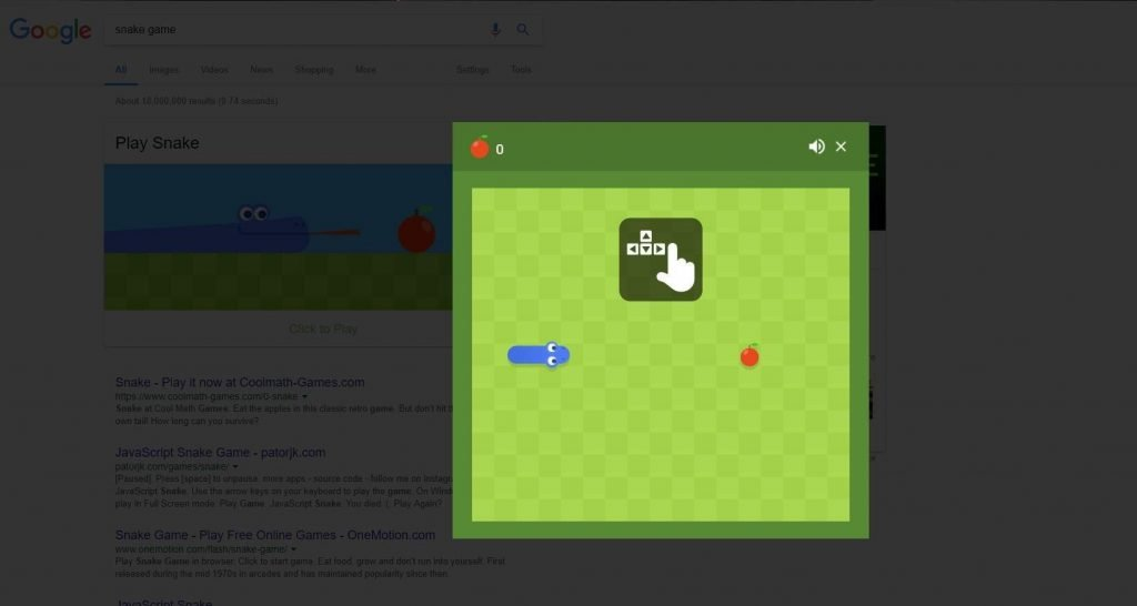 google snake game easter egg