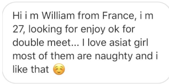 instagram message fetishizing asian women