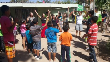 Singing with the kids at the orphanage