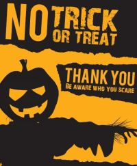 halloween sign no trick or treat