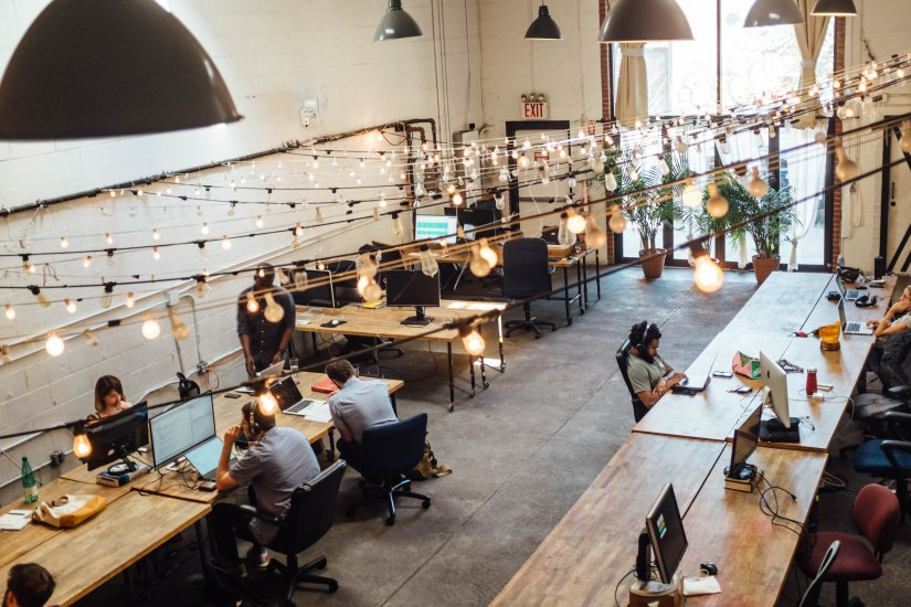 Modern Office space with hanging lights