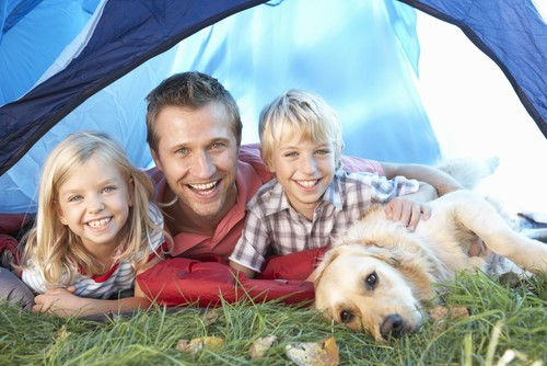 Family camping with dog laying on grass