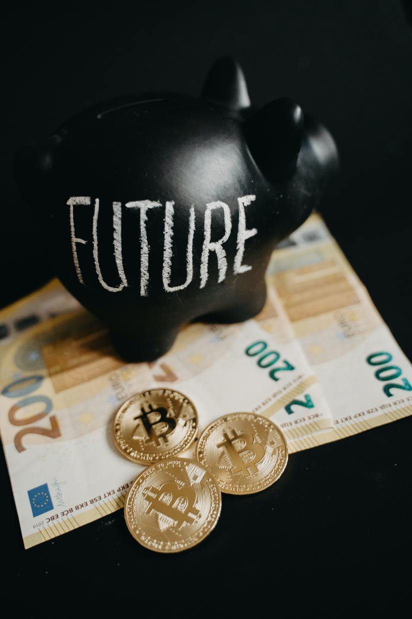 Piggy bank with future written on it surrounded by money