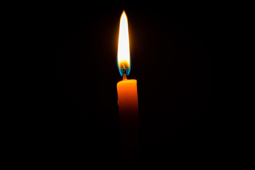 candle in a dark room