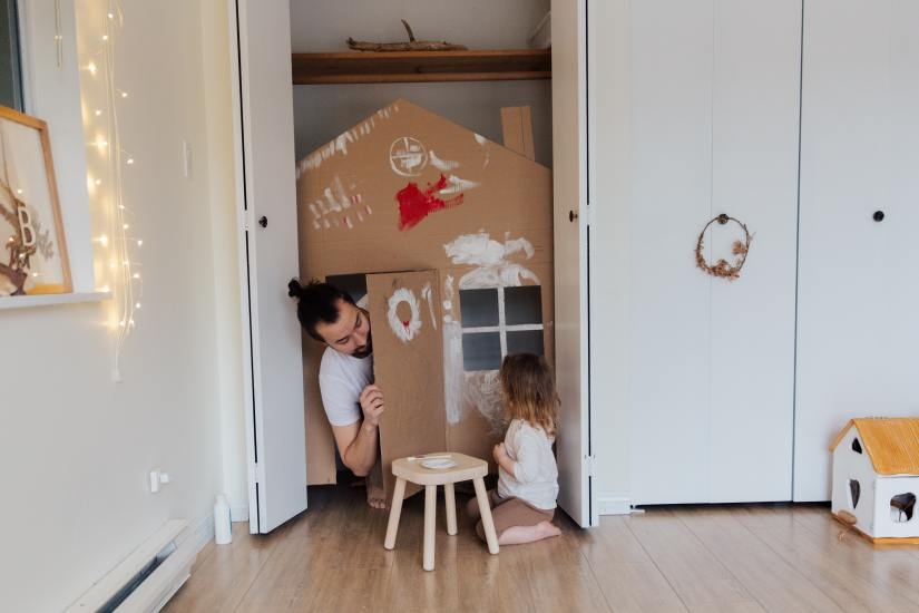 Apartment-friendly play area created in a closet.
