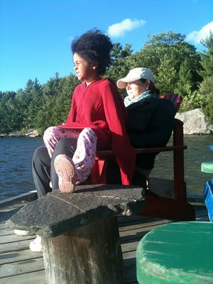 mom and daughter on the dock
