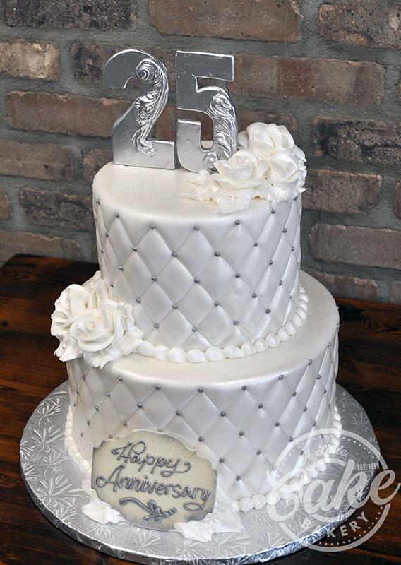 Silver 25th Wedding Anniversary Cake Custom Cake With
