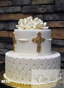 M30 Gold And White Communion Cake