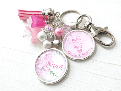 pink floral keepsake keychain for a mother