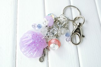 purple shell bag charm