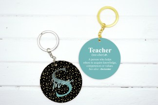 teacher keychain gold dots pattern