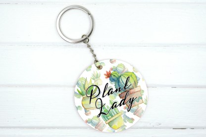 Plant lady keychain with succulent graphics