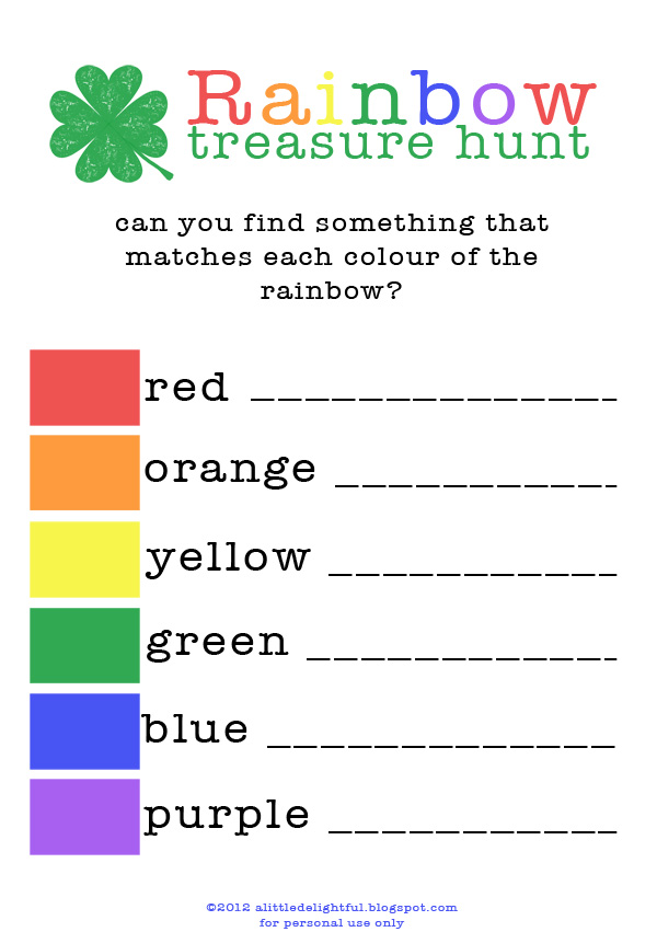 {printable} rainbow treasure hunt for st. patrick's day