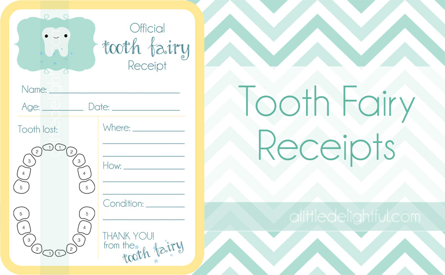 Printable tooth fairy receipts and childhood tooth record a the receipts are ready for you to fill in with a pen when the time comes and are small enough for a fairy to carry along with her o spiritdancerdesigns Choice Image